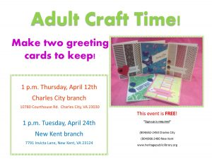 Adult Craft Time @ Heritage Public Library | Charles City | Virginia | United States